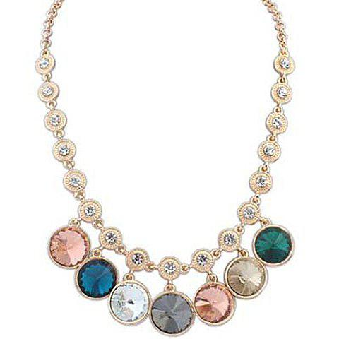 Cute Sweet Women's Gemstone Pendant Necklace - COLOR ASSORTED