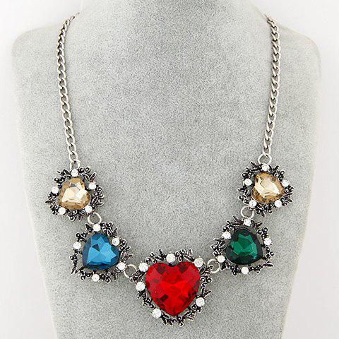 Rhinestone Heart Shape Pendant Necklace - COLORFUL