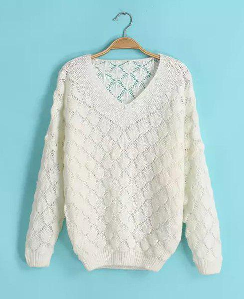 Leaf Pattern Hollow Out V-Neck Long Sleeve Stylish Women's Sweater - WHITE ONE SIZE