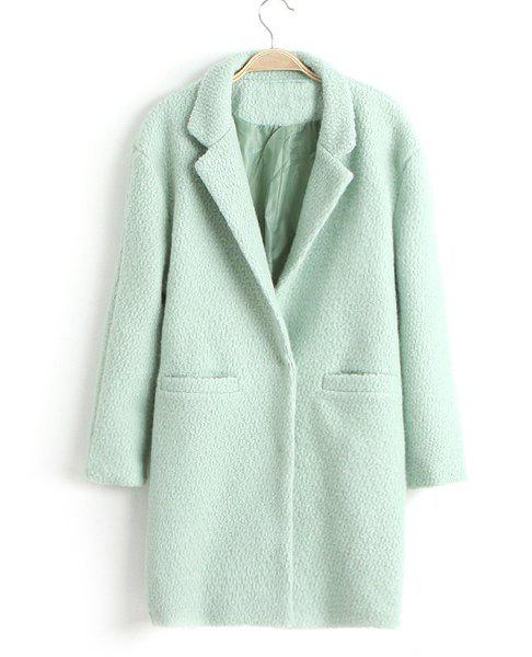 Elegant Double Pockets Design Lapel Solid Color Long Sleeve Worsted Coat For Women - LIGHT GREEN M