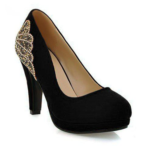 Stylish Chunky Heel and Rhinestones Design Pumps For Women