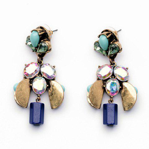 Retro Style Gemstone Embellished Earrings For Women - AS THE PICTURE