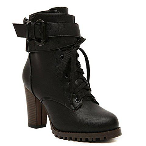 Fashion Lace-Up and Buckle Design Women's Boots