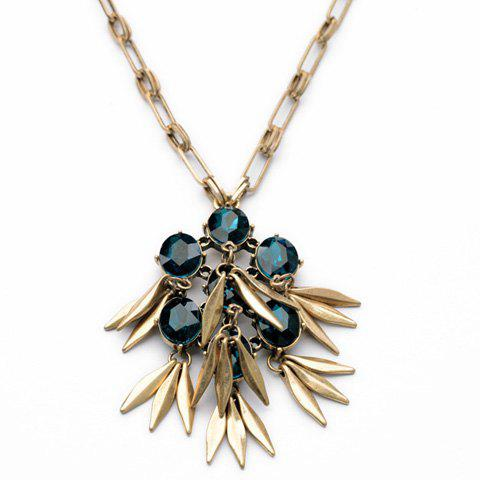 Retro Style Gemstone and Tassel Embellished Women's Necklace - DEEP BLUE