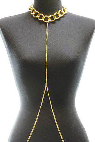 Stylish Simple Design Decussate Body Chain For Women - GOLDEN