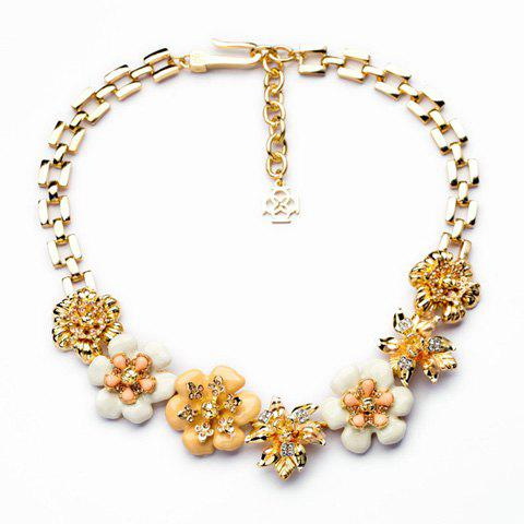 Bohemian Style Seven Flowers Embellished Necklace For Women - AS THE PICTURE