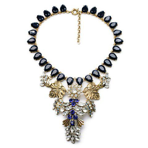 Retro Style Gemstone Embellished Special Shape Women's Necklace - DEEP BLUE