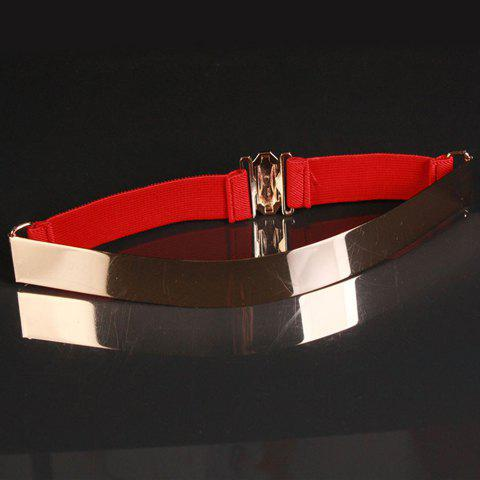 Women's Metal Decoration Square Buckle Elastic Waist Belt -