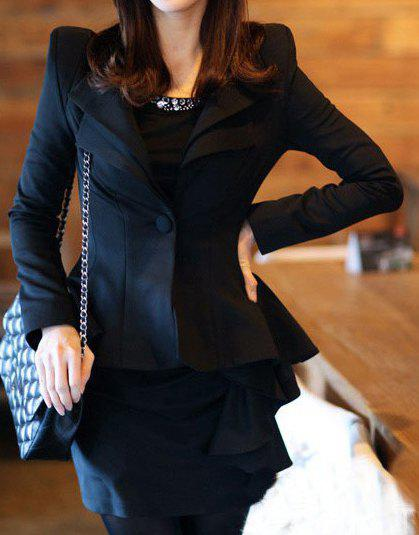 Elegant Flouncing Design Solid Color Stand-Up Collar Long Sleeve One-Button Blazer - BLACK XL
