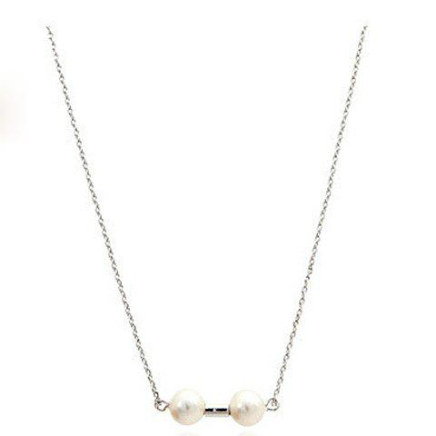 Stylish Chic Women's Pearl Necklace - SILVER
