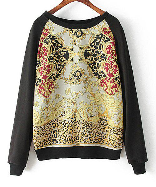 Totem Print Fashionable Scoop Neck Long Sleeve Women's Sweatshirt