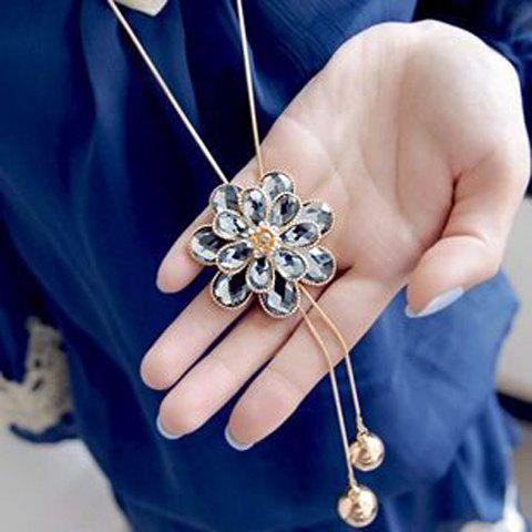 Stylish Layered Faux Crystal Floral Pendant Sweater Chain Neckalce For Women