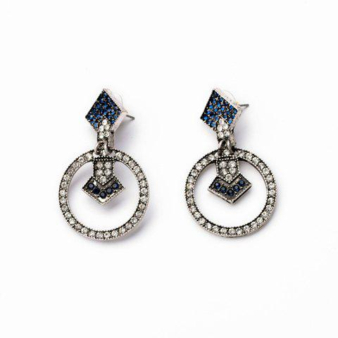 Pair of Retro Style Rhinestone Embellished Round Shape Women's Earrings - AS THE PICTURE