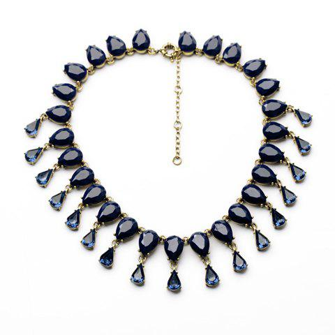 Delicate Gemstone Embellished Waterdrop Shape Women's Necklace - BLUE