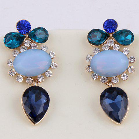 Pair of Fashion Women's Colored Rhinestone Drop Earrings - COLOR ASSORTED