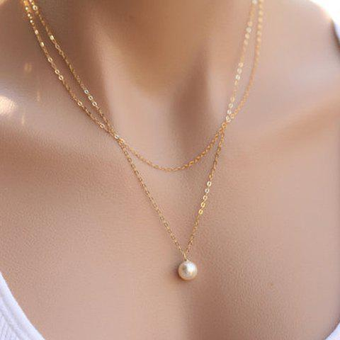 Chic Solid Color Faux Pearl Pendant Necklace For Women - GOLDEN
