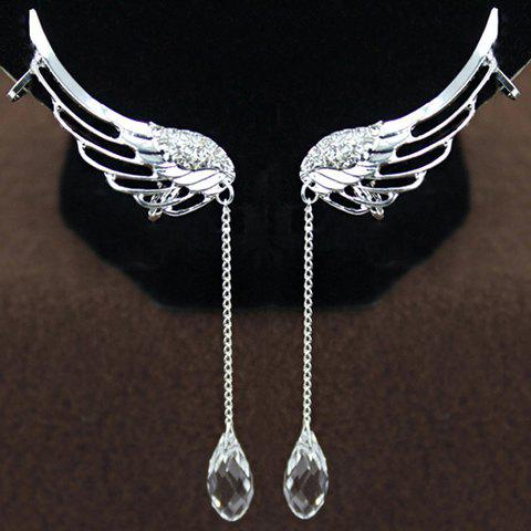 Pair of Stylish Cute Women's Rhinestone Wings Ear Clips - COLORMIX