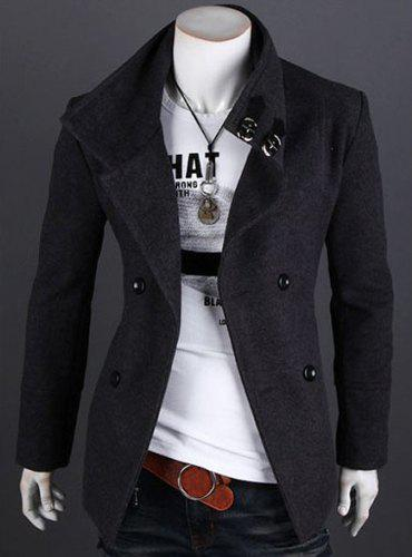 Stylish Turndown Collar Slimming Solid Color Double Breasted Long Sleeve Woolen Trench Coat For Men от Dresslily.com INT