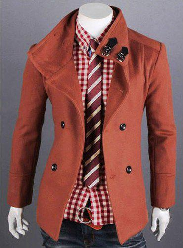 Fashion Solid Color Double Breasted Turndown Collar Long Sleeve Slimming Men's Woolen Trench Coat - BRICK RED L