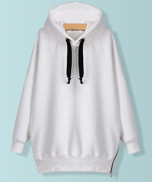 Solid Color Zipper Embellished Long Sleeve Casual Style Women's Hoodie - WHITE S