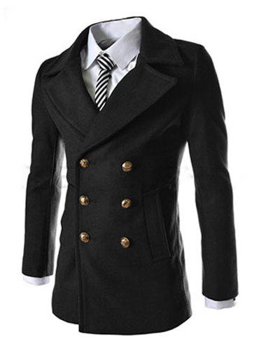 Fashion Solid Color Double Breasted Turndown Collar Long Sleeve Slimming Men's Woolen Coat - BLACK L