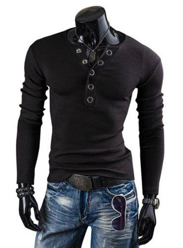 Fashion Solid Color Button Design Round Neck Long Sleeve Slimming Men's Polyester T-Shirt - BLACK L