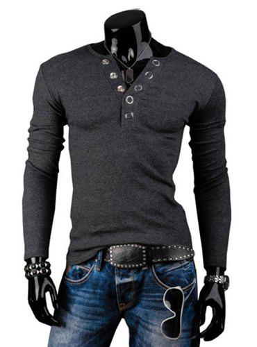 Fashion Solid Color Button Design Round Neck Long Sleeve Slimming Men's Polyester T-Shirt от Dresslily.com INT