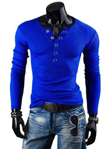 Fashion Solid Color Button Design Round Neck Long Sleeve Slimming Men's Polyester T-Shirt - SAPPHIRE BLUE 2XL