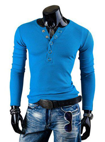 Fashion Solid Color Button Design Round Neck à manches longues en minceur pour hommes en Polyester T-Shirt - Pers L