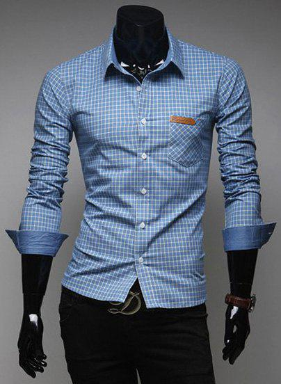 Fashion Tiny Checked Hit Color Splicing Shirt Collar Long Sleeve Slimming Men's Polyester Shirt - BLUE M