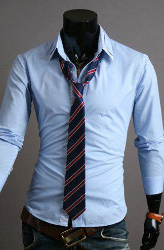 Stylish Shirt Collar Slimming Hit Color Stripe Splicing Long Sleeve Polyester Shirt For Men - LIGHT BLUE M