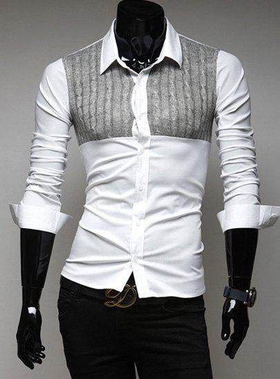 Stylish Shirt Collar Slimming Hit Color Knitted Kink Splicing Long Sleeve Polyester Shirt For Men - LIGHT GRAY XL