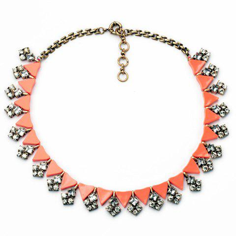 Fashionable Candy Color Rhinestone Embellished Women's Necklace - RED