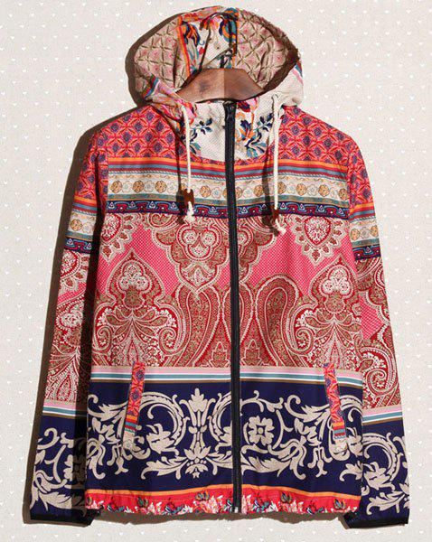 Bohemian Style Hooded Long Sleeves Personality Blue And White Porcelain Print Color Splicing