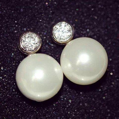 Pair of Rhinestone Faux Pearl Stud Earrings - PEARL WHITE