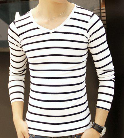 Fashion Hit Color Pinstriped V-Neck Long Sleeve Slimming Men's Polyester T-Shirt - WHITE 2XL