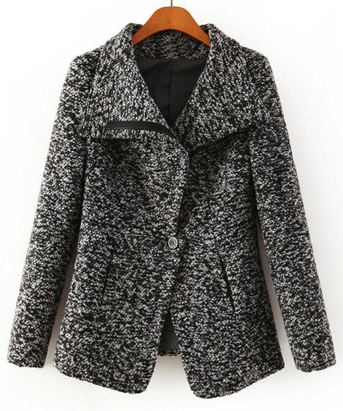 One Button Worsted Turn-Down Collar Long Sleeve Fashionable Women's Coat - GRAY S