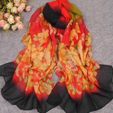 New Gradient Color Flower Pattern Scarf For Women