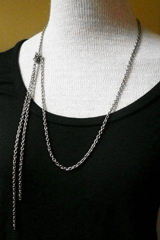 Simple Women's Solid Color Link Sweater Chain Necklace - SILVER