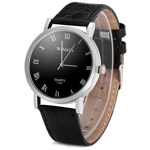 WoMaGe 1128 Quartz Watch Round Dial Leather Watchband for Men - BLACK