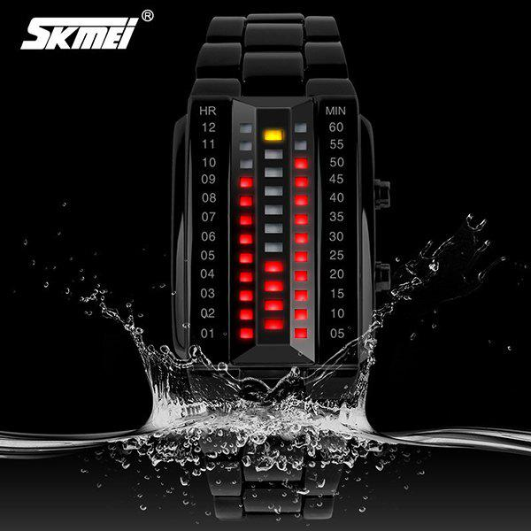 Skmei 1013 Waterproof LED Sports Watch with 3D Glass Surface Japan Movts and Rectangle Dial - BLACK