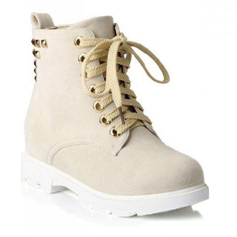 Fashion Style Lace-Up and Rivets Design Short Boots For Women - BEIGE 43