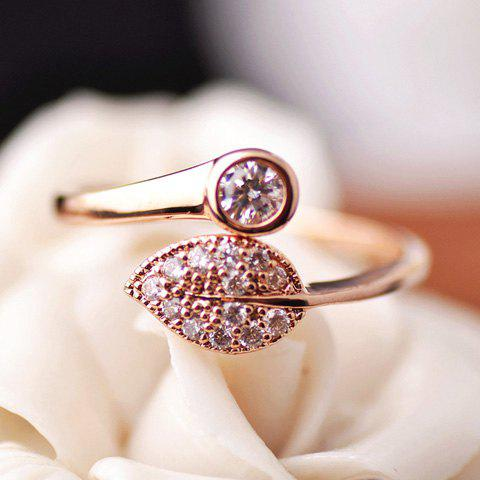 Cute Rhinestone and Zircon Embellished Leaf Shape Cuff Ring For Women - ROSE GOLD ONE-SIZE