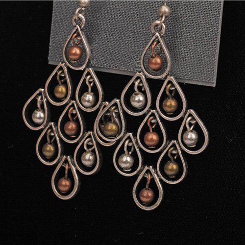 Pair of Beads Teardrop Shape Drop Earrings - COLORMIX