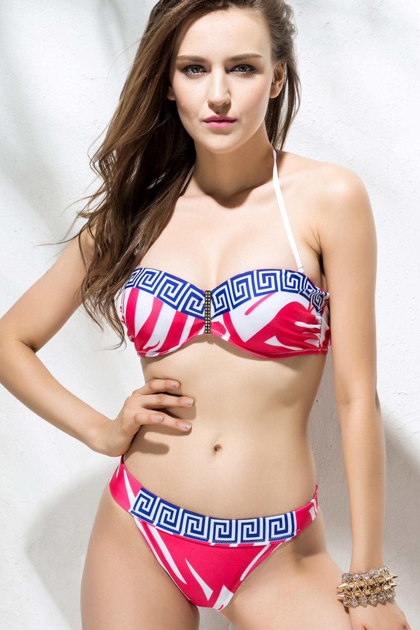 Alluring Style Strapless Printed Women's Bikini Set - BLUE/RED S