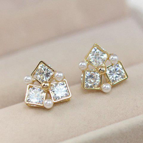 Pair of Fashion Zircon Decorated Geometric Matching Stud Earrings For women - GOLDEN