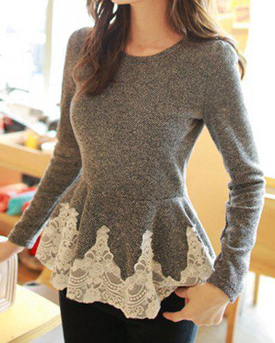 Sweet Style Round Collar Lace Splicing Waisted Corset Long Sleeve T-Shirt For Women - GRAY ONE SIZE