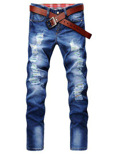 Casual Style Slimming Zipper Fly Narrow Feet Personality Hole Design Men's Denim Pants - BLUE 30