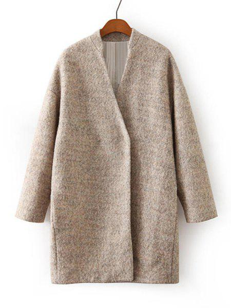 Elegant Solid Color V-Neck Long Sleeve Long Sections Worsted Coat For Women - KHAKI M