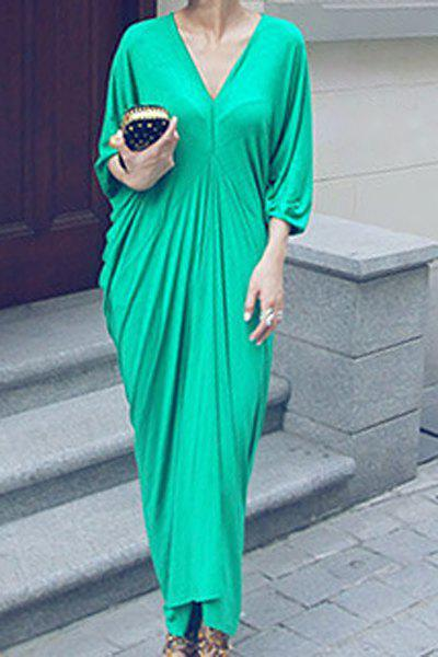 Casual Plunging Neck 3/4 Batwing Sleeve Ruffled Solid Color Women's Dress - GREEN ONE SIZE